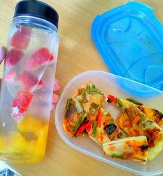 Lunch in the Office  - Vega pizza slides, water with fruits