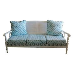 Cane Back Setee In Aqua Chevron Upholstery - $2,498 Est. Retail - $1,498 on Chairish.com #blue