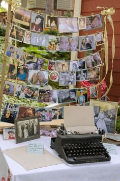 Pictures of the couple growing up, alongside the typerwriter guest book.. Liking this