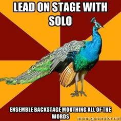 Lead on stage with solo Ensemble backstage mouthing all of the words   Thespian Peacock