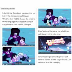 Steven looks so, idk, sarcastic? Yeah, sarcastic, in the first clip thing xD Steven Universe Memes, Lapidot, Fandoms, Star Vs The Forces Of Evil, Force Of Evil, Cartoon Network, Adventure Time, Nerdy, Fangirl