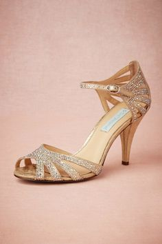 BHLDN Champagne Sparkle Heels in  Bride Bridal Shoes at BHLDN
