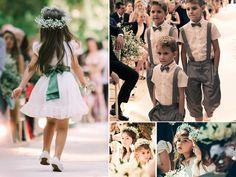 Daminhas com coroa de flor e pajens - Casamento Angelica Erthal e Brian
