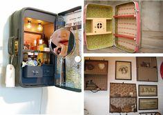 Étagère réalisée avec une valise vintage Je vais commencer à chercher des valises ancienne des maintenant!