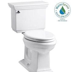 KOHLER Memoirs Stately Comfort Height 2-piece 1.28 GPF Elongated Toilet with AquaPiston Flush Technology in White