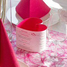 Menükarte Herzform Elegante Herzen pink