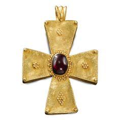 BYZANTINE, 5TH-7TH CENTURY PENDANT CROSS gold, gem-set, probably a garnet