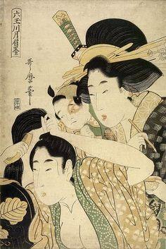 Hairdressing By Kitagawa Utamaro Japanese Artwork, Japanese Painting, Japanese Prints, Motifs Textiles, Art Chinois, Japanese Folklore, Japanese Illustration, Art Japonais, Japan Design