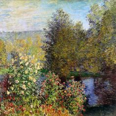 This ready to hang, gallery-wrapped art piece features a garden by a pond. Claude Monet was a founder of French impressionist painting, and the most consistent and prolific practitioner of the movemen