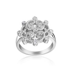 Andrew Charles 14k Gold 1/6ct TDW Diamond Fashion Vintage Look Ring (H-I, SI2-I1) (Size ), Women's
