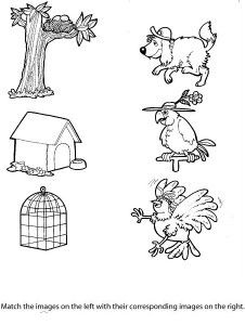 free printable matching animals to their home worksheet (1