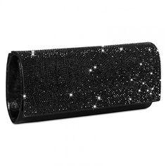 CASPAR Damen elegante Abendtasche   Clutch mit vielen funkelnden Strass Steinen und zusätzlichen Ketten - Silber & Schwarz - TA325, Farbe:schwarz