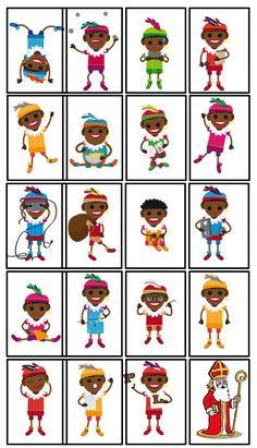 * Zwarte Pieten kaartspel! 1-2 Holidays Around The World, Christmas Pictures, Elementary Schools, Preschool, Memories, Kids, December, Dance Studio, Holland