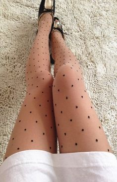 Ultra Thin 20D Transparent Nude Black Polka Dot Vintage Sheer Stockings Pantyhose Tights Leggings One Size (PHS-060-PLK-NUD)