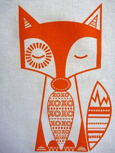 Screen Printed Finn McTrickster Sunny Orange on White Essex Linen Panel