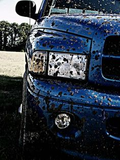 Muddy Blue Dodge Ram Truck