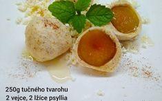 Low carb tvarohové ovocné knedlíky - Jídelní plán Lowes, Low Carb, Eggs, Keto, Pudding, Breakfast, Desserts, Food, Morning Coffee