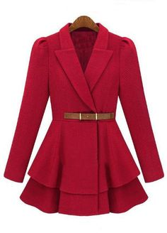 Abrigo cruzado con cinturón-Rojo