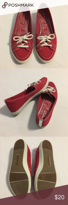 Naturalizer Canvas Flats Cute and casual Ked-like Loafers. The color is a true red with a shiny silver stripe on the heel for extra flare.  Rarely worn and in excellent condition. Naturalizer Shoes Flats & Loafers