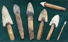 Ancient Native American hafted knives, rock shelter finds, Texas.