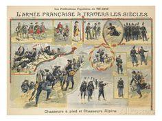 L'armée française à travers les siècles, chasseurs à pied et chasseurs alpins reproduction procédé giclée sur AllPosters.fr