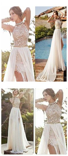 Elegant A-line Halter Prom Dress,High Neck Floor-length Beach Wedding Dresses,Lace Ivory Wedding Dress,Chiffon Prom Dresses