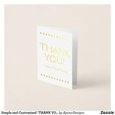 """Shop Simple and Customized """"THANK YOU!"""" Card created by AponxDesigns. Paper Envelopes, White Envelopes, Thank You Greeting Cards, Colored Paper, Sparkle, Place Card Holders, Simple, Prints, Appreciation Cards"""
