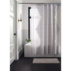 Striped Shower Curtains, Fabric Shower Curtains, Clean Space, Modern Farmhouse Bathroom, Curtain Patterns, Curtain Ideas, White Shower, Cotton Curtains, Shower Curtain Hooks