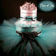 2 Tier Teal & White DIAPER CAKE w/ silver tiara  by TiersofJoybyUs