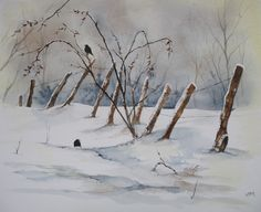 Watercolor on paper - Fine Grain Jolie found in the snowy Ardennes A couple of blackbirds in quest of some seeds Poor little birds! Robins in winter Art by Independent Artists. Painting Snow, Winter Painting, Winter Art, Watercolor Painting Techniques, Watercolor Landscape Paintings, Painting & Drawing, Watercolor Christmas Cards, Watercolor And Ink, Watercolor Illustration