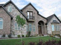 Awesome Stone And Brick Exterior Home Design 31 – HomeGardenMagz Grey Brick Houses, Brick House Colors, House Exterior Color Schemes, Stone Exterior Houses, Stone Houses, Exterior Colors, Exterior Design, Brick Exteriors, Stucco Exterior