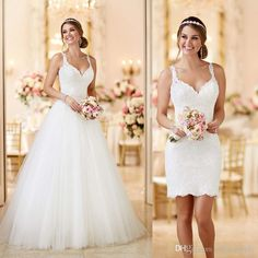 awesome Custom Made 2016 Lace Tulle Spaghetti Straps Zipper See Through Back 2 In 1 Wedding Dresses DetachableRemovable SkirtTrain Plus Size Bridal Gowns Romantic Wedding Dresses From Officesupply, $155.36| Dhgate.Comby duratan-wedding.top