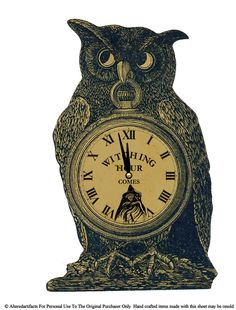 retro styled Halloween decoration, owl, witching hour clock face