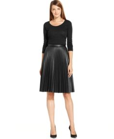 The perfect fall skirt in beautiful pleated faux-leather at the best price! $109.50