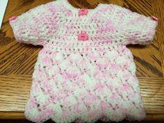 Acrylic Handmade Crochet Preemie Newborn Dress/Top - S/Sleeve Pink/White #Handmade #DressyEverydayHoliday