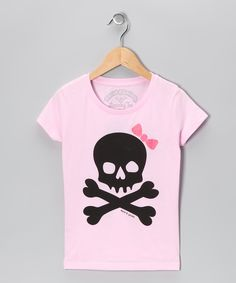 Cotton Candy Bow Skull Tee - Girls  #zulily #fall