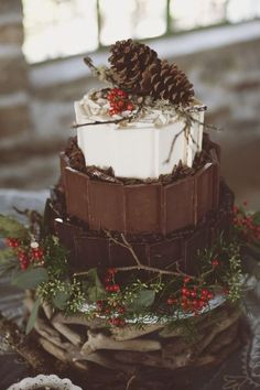 A rustic winter wedding cake with candy bars on the sides - perfect for a Christmas wedding. Wedding Cake Rustic, Rustic Cake, Woodland Wedding, Cake Wedding, Wedding Cupcakes, Gold Wedding, Wedding Ceremony, Woodland Cake, Glitter Wedding