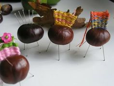 I'm especially grateful to Natalie for sharing one of her childhood projects with me. These appealing little conker chairs kept the girls (a. Conkers Craft, Autumn Crafts, Pine Cones, Caramel Apples, Acorn, Childhood Memories, Arts And Crafts, Fancy, Blackbird