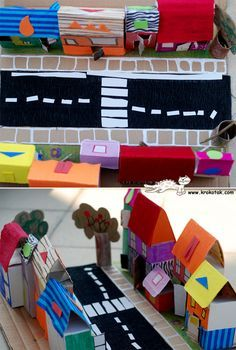 Cardboard village CUTE idea - and hours of fun! ~ Mary J Cardboard City, Cardboard Box Crafts, Paper Crafts, Kids Crafts, Diy And Crafts, School Projects, Projects For Kids, Recycle City, Preschool Art