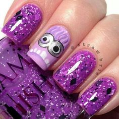 Image of Purple Minion Madness.little Miss would love this on her nails It& purple It& Minions.she wants Minions to do her biding) Love Nails, How To Do Nails, Pretty Nails, Minion Nail Art, Nagel Stamping, Purple Minions, Nails For Kids, Cute Nail Art, Purple Nails