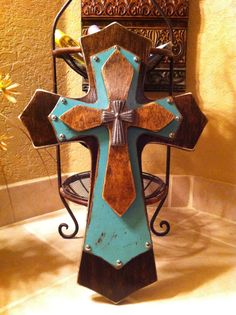 Large Walnut and Turquoise Wood Cross by SignsBYDebbieHess on Etsy