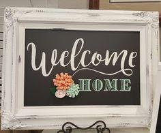welcome home chalkboard, chalk couture - Chalk Art İdeas in 2019 Chalk Crafts, Vinyl Crafts, Decor Crafts, Chalkboard Vinyl, Chalkboard Lettering, Chalk It Up, Chalk Art, Motto, Chalk Design