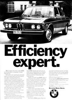 1974 BMW 3.0 Liter Sedan vintage ad. Efficiency expert. Photographed in black & white with list of standard features.