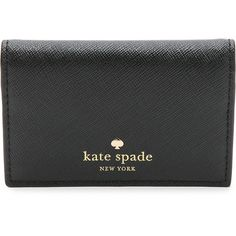 Kate Spade New York Melanie Card Case (6170 ALL) ❤ liked on Polyvore featuring bags, wallets, black, black bifold wallet, card holder wallet, kate spade wallet, slim bifold wallet and black leather wallet