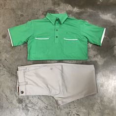 Men's Spring Colors. The Pismo Beach polo knit in Atomic Green and All Cotton twill The Chino pants in Silver.    Tip: Light colored pants and a brightly colored shirt will always stand out at any spring cocktail party.