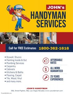 Free Home Improvement Flyer Templates - handyman professional services flyer template handyman services Digital Marketing Trends, Digital Marketing Strategy, Service Marketing, Templates Printable Free, Flyer Template, Handyman Logo, Plumbing Problems, Insulation Materials, Professional Services