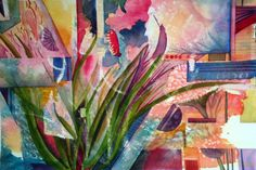 Floral cubist - original abstract watercolor painting