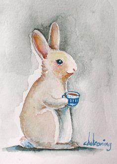 Bunny rabbit drinking tea art illustration painting 8x10