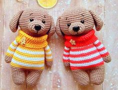 Dog in sweater amigurumi doll: free crochet pattern! Make your own adorable best friend in a striped sweater. Get ready to snuggle this cute crochet dog!