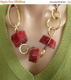 @BlackCoral4you ❤️❤️❤️. 50% OFF SALE: Statement Necklace Ashira Red Natural Coral with Gold & Ribbon